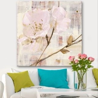 Designart 'Elegance I Pink' Shabby Chic Canvas Art - Multi-color