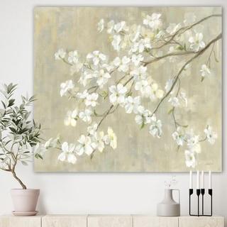 Designart 'Dogwood in Spring Neutral' Farmhouse Canvas Artwork - Grey