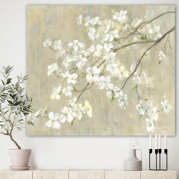 Designart 'Dogwood in Spring Neutral' Farmhouse Canvas Artwork - Grey/Brown