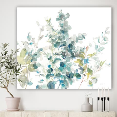 Designart 'Eucalyptus Natural Element' Farmhouse Canvas Art - Blue