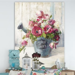 Designart 'Maison Des Fleurs I' Cabin & Lodge Canvas Artwork - Grey