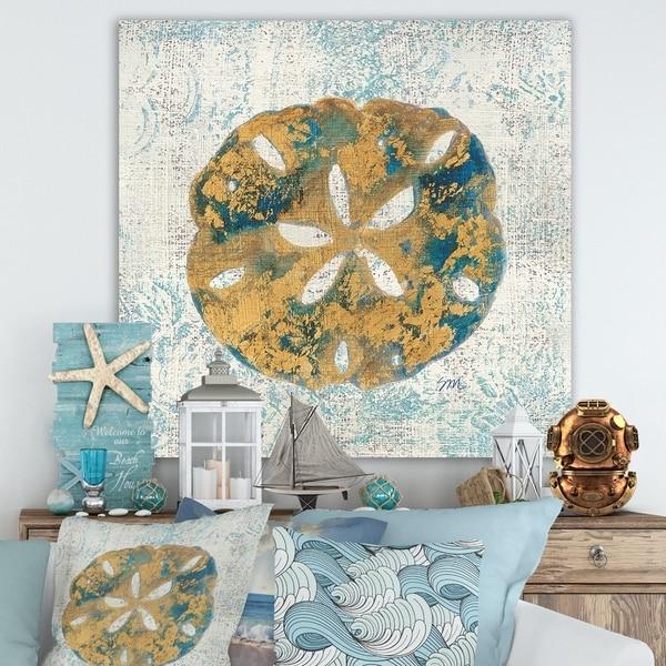 Designart 'Coastal Pastel seashells II' Vintage Nautical Canvas Artwork - Blue