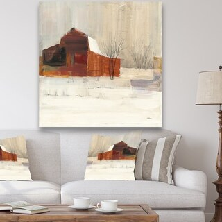 Designart 'Winter in the Barns' Farmhouse Canvas Art - Grey