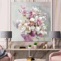 Designart 'Pink Magnolia Flowers' Shabby Chic Canvas Art - Grey