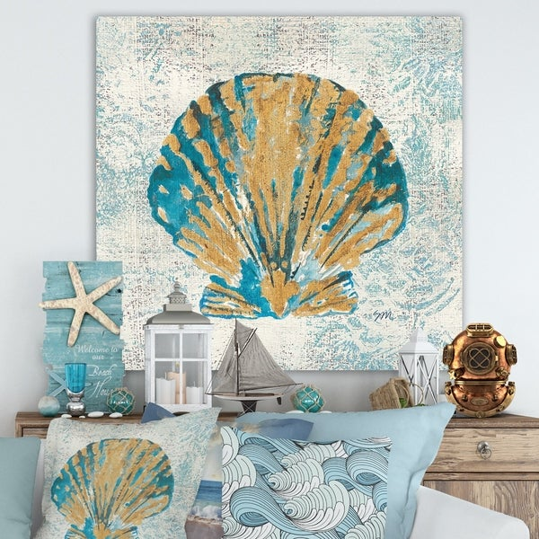 Designart 'Coastal Pastel seashells I' Vintage Nautical Gallery-wrapped Canvas - Blue
