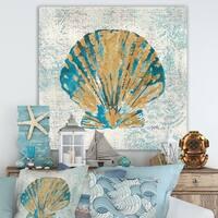 Designart 'Coastal Pastel seashells I' Vintage Nautical Gallery-wrapped Canvas - Blue