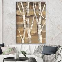 Designart 'Natural Birch Forest II' Traditional Canvas Art - Brown/White
