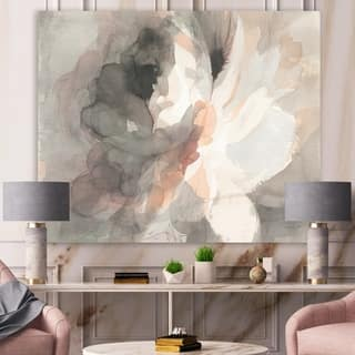 Designart 'Abstract Peony Grey' Pink Modern Gallery-wrapped Canvas - Grey