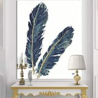 Designart 'Gold Indigo Feathers IV' Modern Bohemian Canvas Artwork - Grey