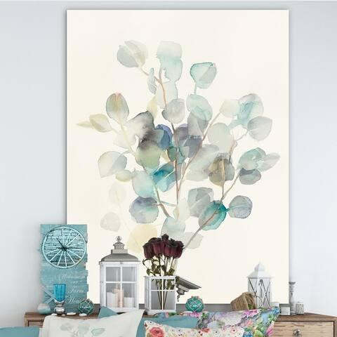 Designart 'Eucalyptus leaves I' Farmhouse Premium Canvas Wall Art - Grey