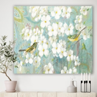Designart 'Birds on Blossom' Traditional Gallery-wrapped Canvas - Blue