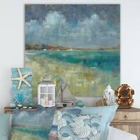 Designart 'Sky and Sea' Nautical & Coastal Canvas Artwork - Blue