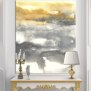 Designart 'Gold Glamour Direction II' Modern & Contemporary Premium Canvas Wall Art - Grey/Orange