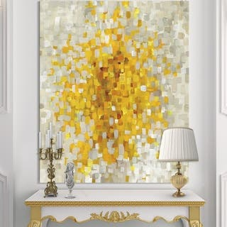 Designart 'Glam Yellow Explosion Blocks' Modern & Transitional Gallery-wrapped Canvas - Multi-color