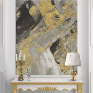Designart 'Marble Gold and Black' Modern & Contemporary Canvas Artwork - Grey