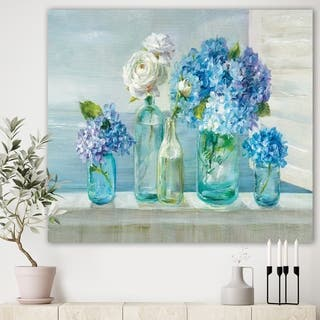 Designart 'Coastl Flowers Bouquets' Nautical & Coastal Canvas Art - Blue