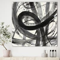 Designart 'Minimalistic Roller III' Mid-Century Modern Premium Canvas Wall Art - Grey/Black