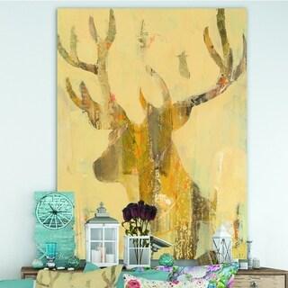 Designart 'Golden Deer II' Modern Farmhouse Canvas Artwork - Brown