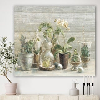 Designart 'Composition of Orchids' Traditional Canvas Artwork - Green