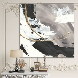 Designart 'Glam Printed Arcs II' Transitional Gallery-wrapped Canvas - Black