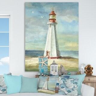 Designart 'Nautical Lighthouse III' Nautical & Beach Canvas Art - Blue