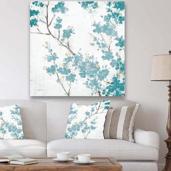 Designart 'Teal Cherry Blossoms II' Traditional Floral Canvas Art - Blue
