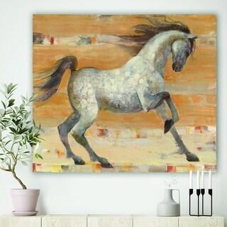 Designart 'southwest Beige Horse' Modern Farmhouse Gallery-wrapped Canvas - Brown