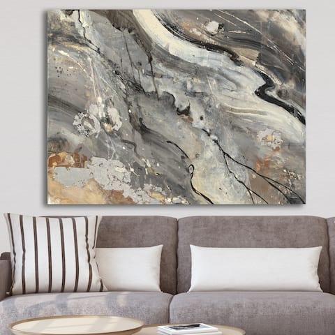 Designart 'Fire and Ice Minerals II' Farmhouse Canvas Artwork - Black