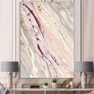Designart 'Shaby Pink Marble' Sleek & Chic Modern Premium Canvas Wall Art - Grey