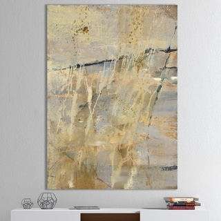 Designart 'Geometric Cream Block II' Modern Glam Gallery-wrapped Canvas - Multi-color