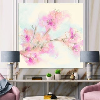 Designart 'Pink Blossoms Branch' Floral Cottage Canvas Art - Blue