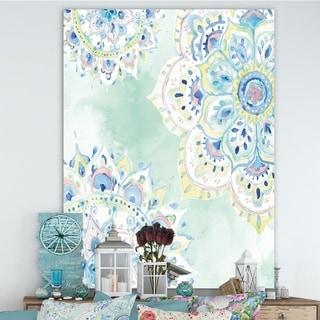 Designart 'Watercolor mandalas IV' Floral & Botanical Canvas Artwork - Blue/Green