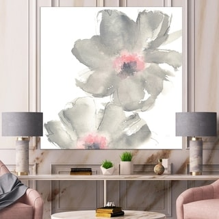 Designart 'Shabby Gray Blush Cosmo I' Shabby Chic Canvas Art - Grey