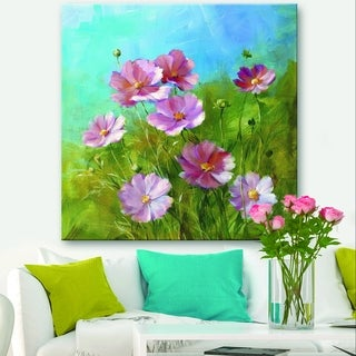 Designart 'Red Wildflowers on A Green Meadow' Traditional Canvas Art - Blue