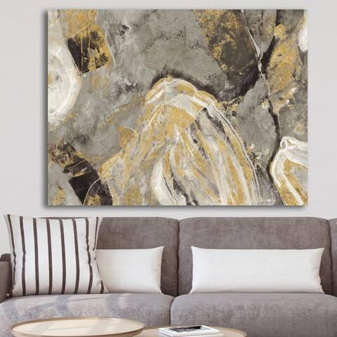 Designart 'Painted Gold Stone' Cabin & Lodge Canvas Art - Grey