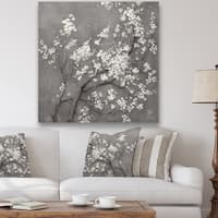 Designart 'White Cherry Blossoms I' Traditional Gallery-wrapped Canvas - Black/White