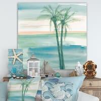 Designart 'Peaceful Dusk II Tropical' Tropical Canvas Art - Blue