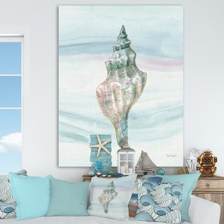 Designart 'Ocean Metallic Conch' Lake House Canvas Artwork - Blue/Pink