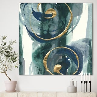 Designart 'Mettalic Indigo and Gold II' Posh & Luxe Premium Canvas Wall Art - Blue