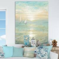 Designart 'Sunrise Boat I' Nautical & Coastal Premium Canvas Wall Art - Blue