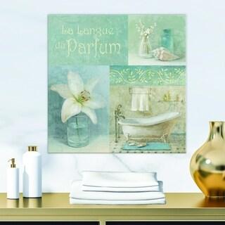 Designart 'Bathroom Lily Parfum Bath Story' Traditional Premium Canvas Wall Art - Blue