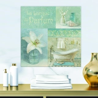 Designart 'Bathroom Lily Parfum Bath Story' Traditional Premium Canvas Wall Art - Blue