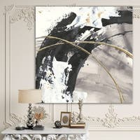 Designart 'Glam Painted Arcs I' Transitional Gallery-wrapped Canvas - Black