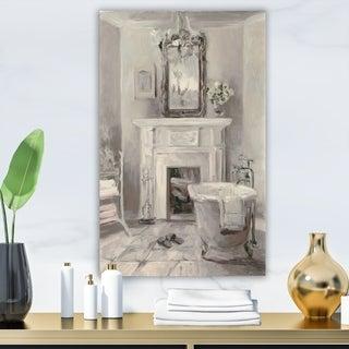 Designart 'French Bathroom Vintage I' Traditional Bathroom Premium Canvas Wall Art - Grey