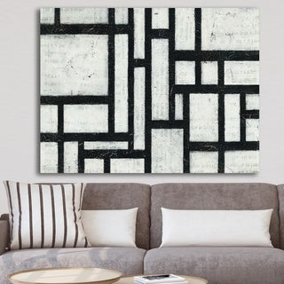 Designart 'Black and White Labyrinth geometric' Mid-Century Modern Canvas Art - Black