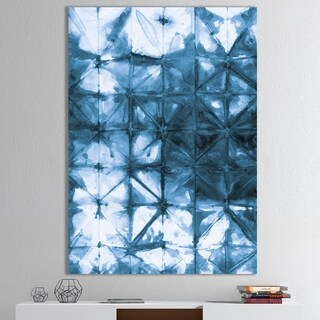 Designart 'Indigo watercolor geometrical III ' Contemporary Canvas Art - Blue
