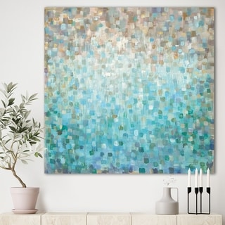 Designart 'Blocked Abstract' Blue Nautical & Coastal Gallery-wrapped Canvas
