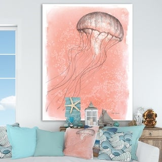 Designart 'Coastal Sea Life IV jellyfish sketches' Nautical & Coastal Canvas Art - Pink