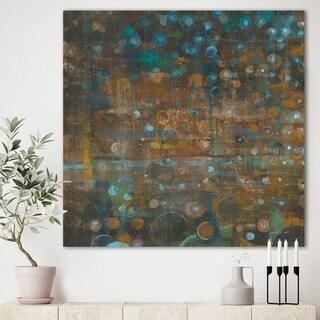 Designart 'Blue and Bronze Dots on Glass III' Cabin & Lodge Premium Canvas Wall Art - Blue