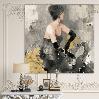 Designart 'Gold Fashion Dance' Traditional Premium Canvas Wall Art - Black